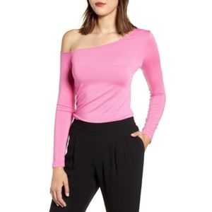 HALOGEN One Shoulder Soft Long Sleeve Top